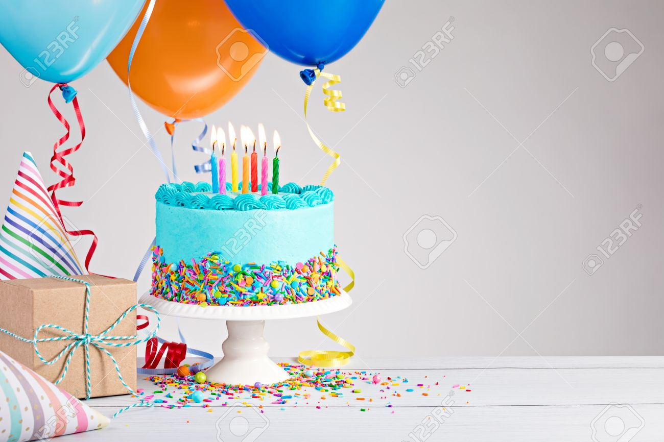 Happy Birthday Cake And Balloons